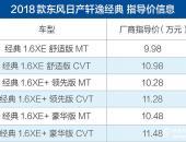 2018款东风日产轩逸经典上市 售价9.98-11.48万元
