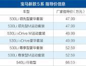 宝马新款5系上市 售47.99-66.59万元/528Li车型停产
