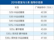 2019款宝马5系正式上市 售42.99-65.99万元/配置调整